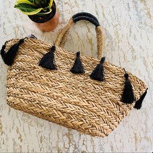 H&M Woven Tassel Beach Tote Bag